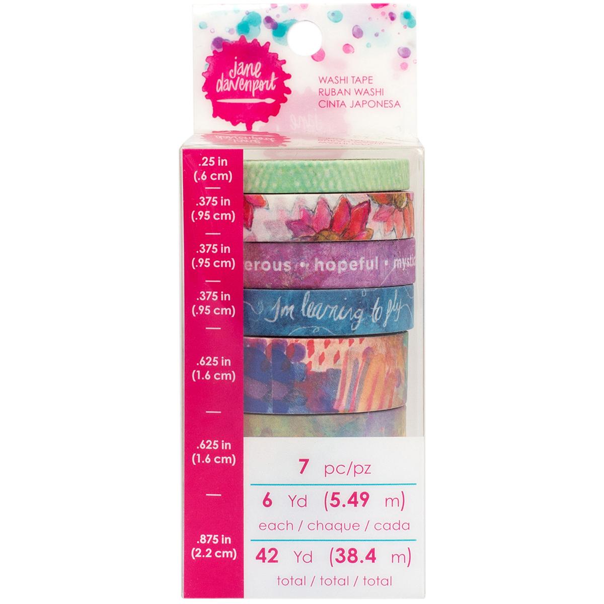 Jane Davenport Mixed Media Washi Tape Rolls 7/Pkg-Fantastical, 6 Yards Each