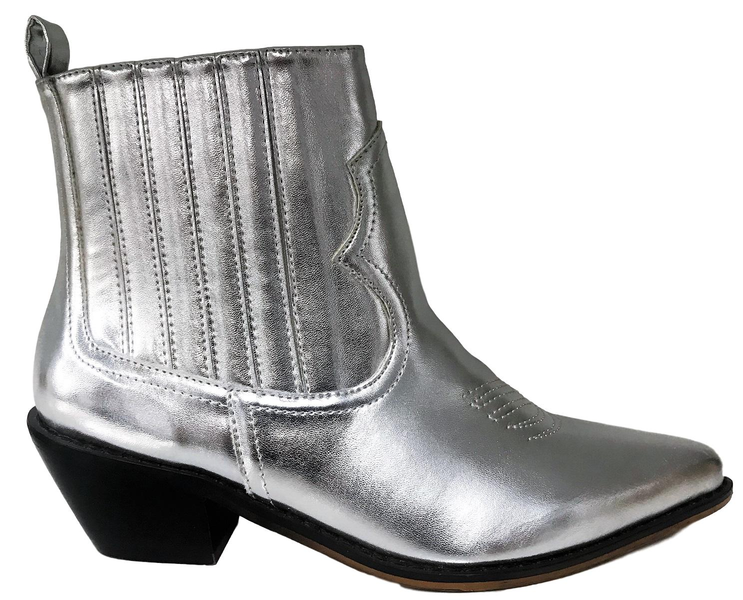 Charles-2 Women Ankle Western Cowboy Cowgirl Elastic Stretchy Pointed Toe Ankle Women High Boots Silver 2bd782