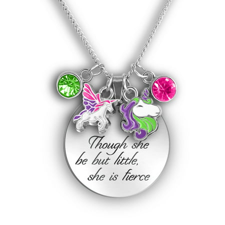 - Daughter Necklace for Girls Mother - Though She Be Little She is Fierce - Engraved Necklace with Flying Pegasus & Unicorn Charms
