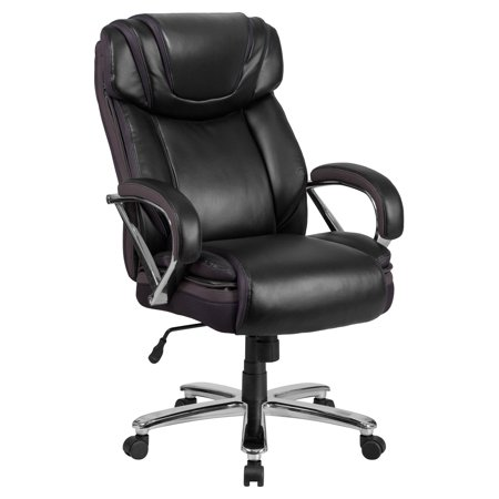 Sharp Series Leather - Flash Furniture HERCULES Series 500 lb. Capacity Big & Tall Black Leather Executive Swivel Office Chair with Extra Wide Seat