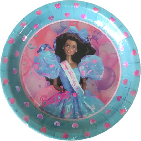 Barbie Vintage 1994 Metallic Large Paper Plates (8ct) (Vintage Paper Plates)