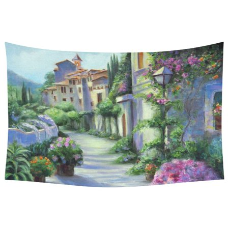 PHFZK Landscape Home Decor Wall Art, Flower Street House Oil Painting Scenery Tapestry Wall Hanging 60 X 90 Inches - Painting Scroll Wall Hanging Flower