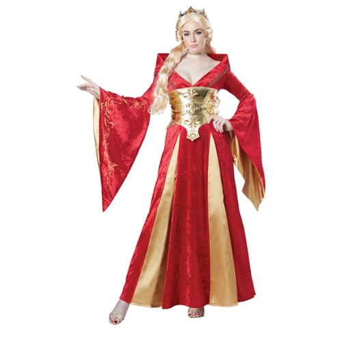 Womens Red Medieval Queen Costume Size Small 6-8