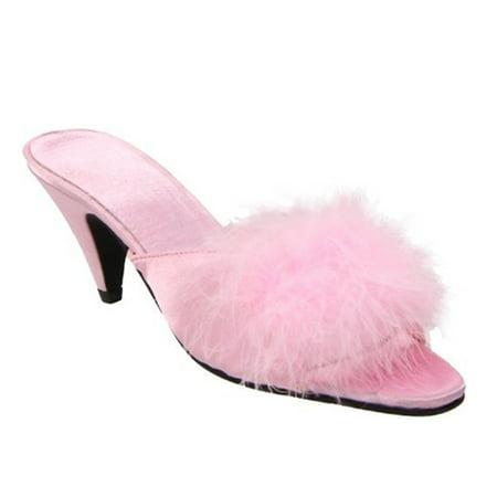 Womens Lingerie Slippers Faux Fur Strap 2 1/2 Inch Heel Satin Maribou Slides
