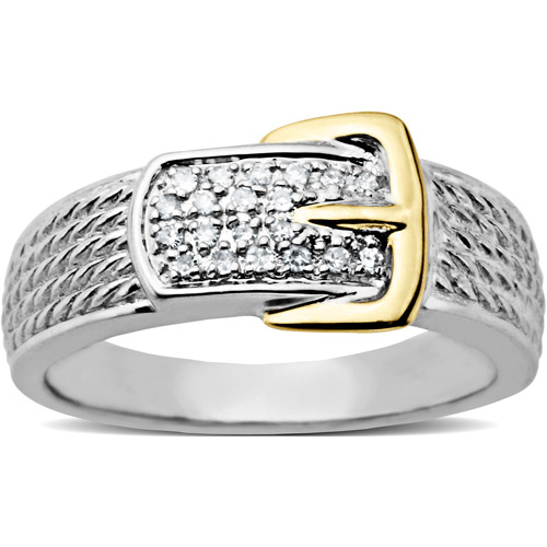 Duet Diamond Accent Buckle Ring in 10kt Yellow Gold and Sterling Silver, Size 7
