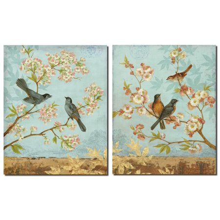 Catbirds & Blooms - Lovely, Vintage Birds on a Pink Cherry Blossom Tree; Two 11X14 Poster Prints (Cherry Bomb Poster)