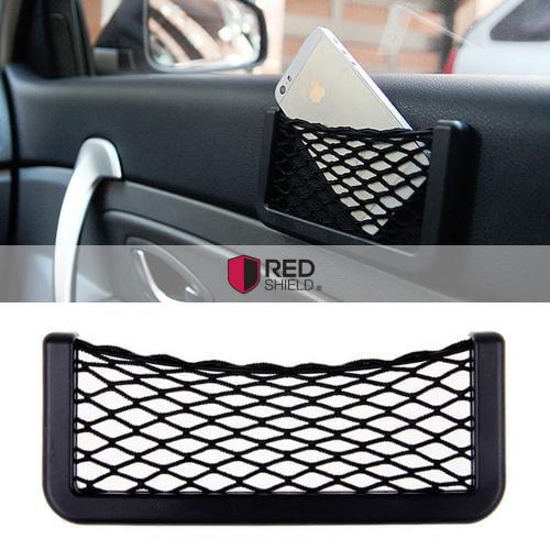 RED SHIELD Large Black Car Net Bag Phone Holder Storage Pocket Organizer [Also great for wallet, keys, pens, and MORE!]