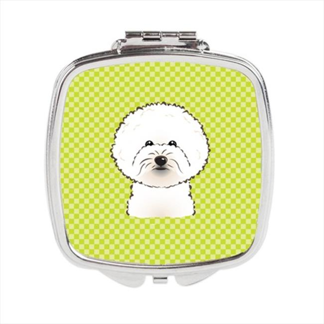 Carolines Treasures BB1279SCM Checkerboard Lime Green Bichon Frise Compact Mirror, 2. 75 x 3 x . 3 inch
