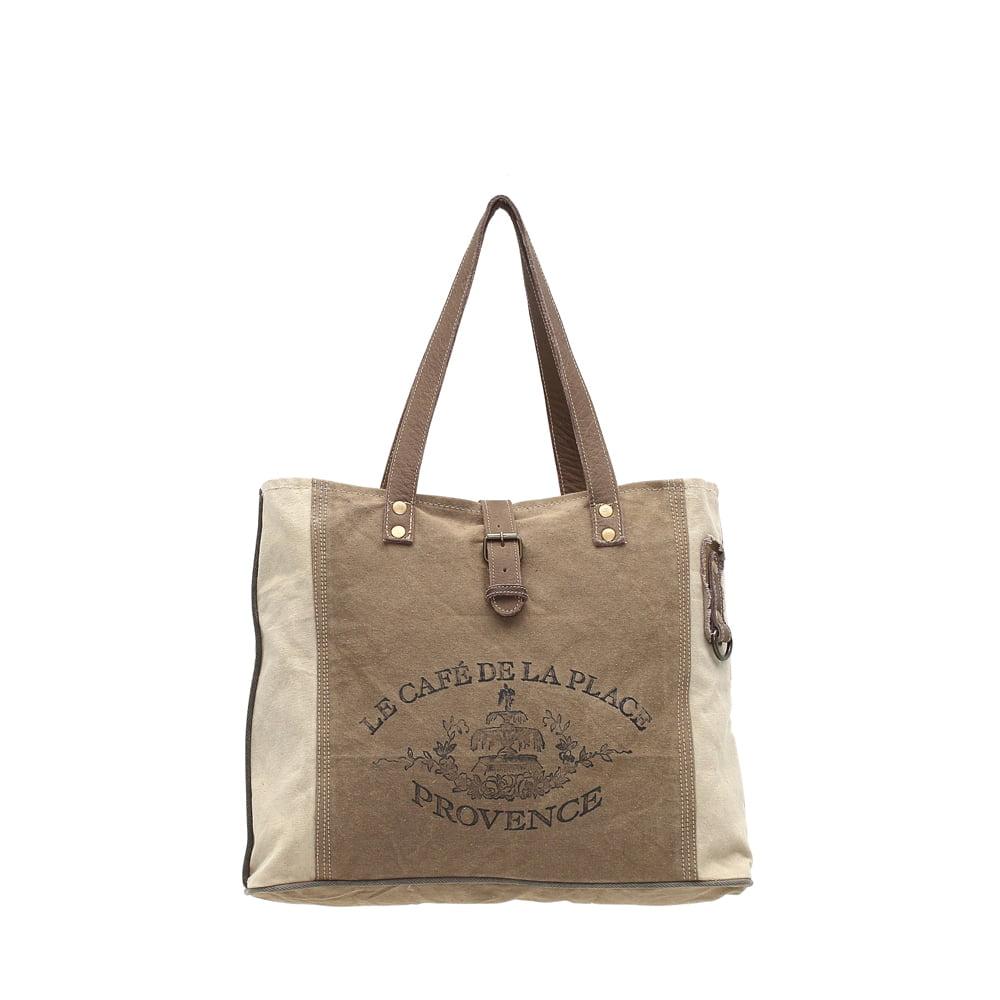 De La Provence Upcycled Canvas and Genuine Leather Trim Tote Bag - image 4 de 4