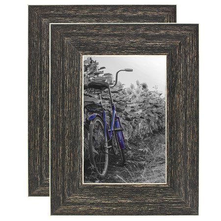 2 Pack - 4x6 Barnwood Rustic Picture Frames - Wall or Tablettop (Photo Frame Packs)