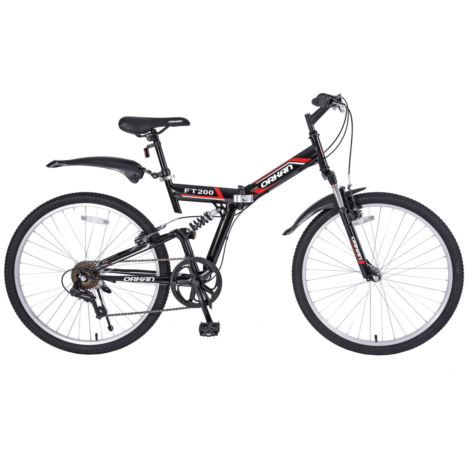 "Uenjoy 26"" Mountain Bike Folding Bicycle 7 Speed Shimano Hybrid Suspension School Sport,Black"