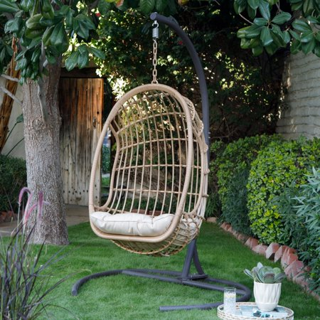 Island Bay Bali Resin Wicker Hanging Egg Chair with ...