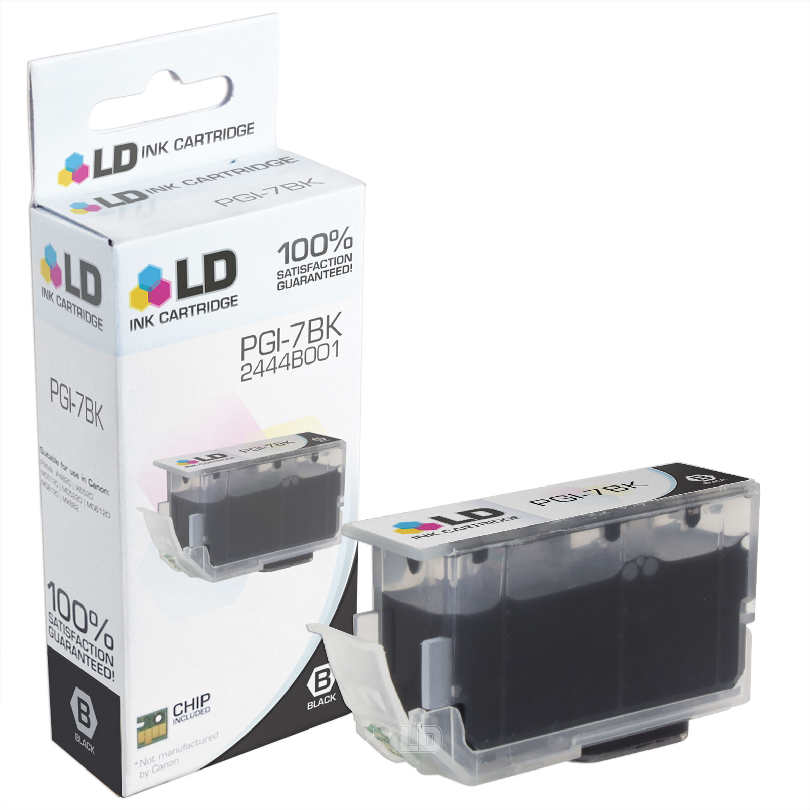 LD Compatible Canon PGI-7BK Black Ink Cartridge for iX7000, & MX7600