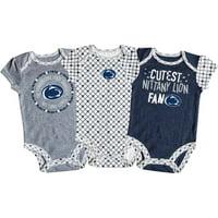 Girls Newborn & Infant Russell Athletic Navy/White/Heathered Gray Penn State Nittany Lions 3-Pack Team Bodysuit Set
