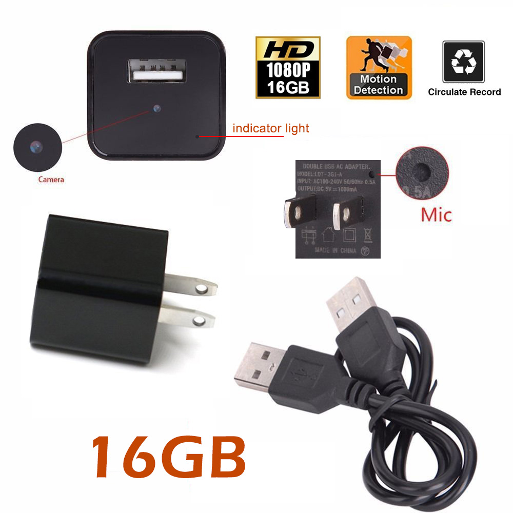 NEW 16GB Hidden Spy Camera Motion Detection Real USB AC Adapter Wall Plug Charger Camcorder DV Surveillance 1080P Hidden Spy Wall Camera Video Recorder Loop Record For Home Security Nanny Spy Camera
