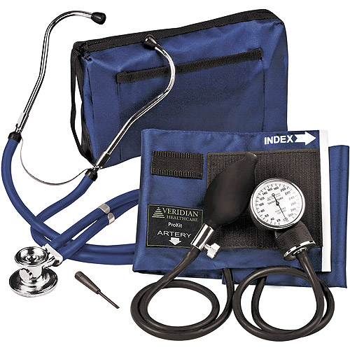 Sterling ProKit Adjustable Aneroid Sphygmomanometer with Sprague Stethoscope, Adult, Navy Blue