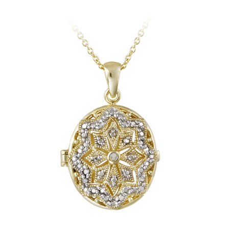 White Diamond Oval Necklace (18K Gold over Sterling Silver Diamond Accent Filigree Oval Locket Necklace)