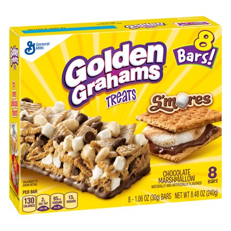 (3 Pack) Golden Grahams S'mores Chocolate Marshmallow Treat Bars, 8.48 oz - Chocolate Covered Marshmallow Halloween Treats