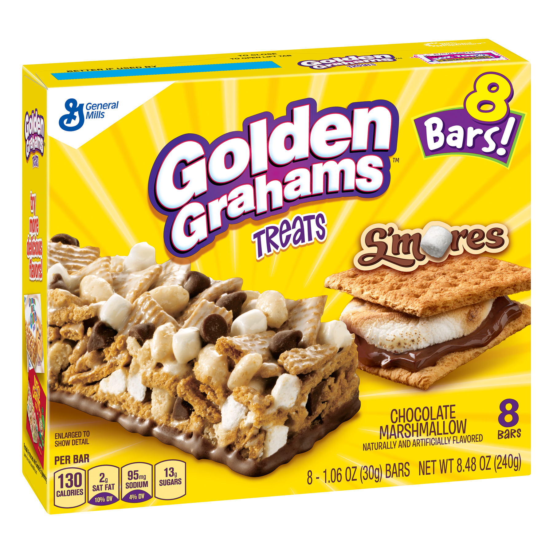 Golden Grahams S'mores Chocolate Marshmallow Treat Bars, 8.48 oz
