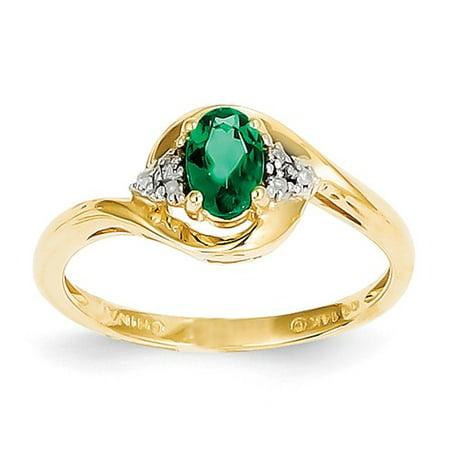 14k Yellow Gold 6x4 Oval Diamond & Genuine Emerald Ring. Carat Wt- 0.41ct