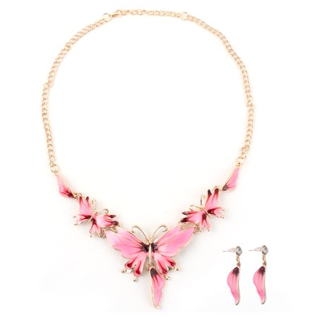 Lady Metal Vintage Style Butterfly Shape Chain Choker Necklace Earrings Set Pink - image 2 of 2