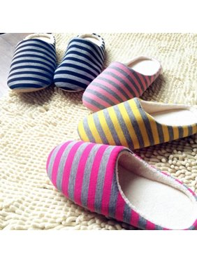 a9565d2681d2 Product Image Newpee Women s Men s Winter Striped Warm Soft Anti-Slip Indoor  Shoes Home Slippers