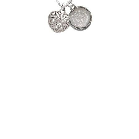 Medium Open Filigree Heart Sun Sea Sand Serenity Engraved Necklace
