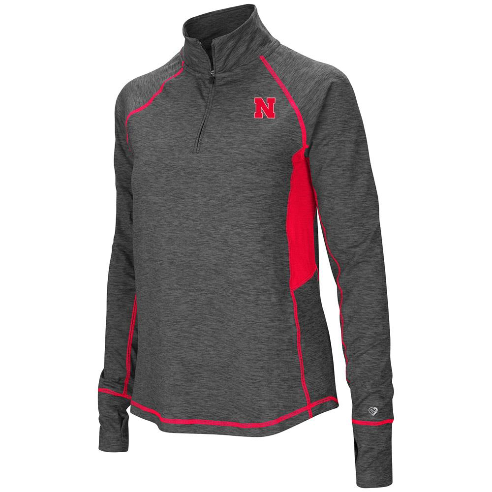 Womens Nebraska Cornhuskers Quarter Zip Pull-over Long Sleeve Shirt