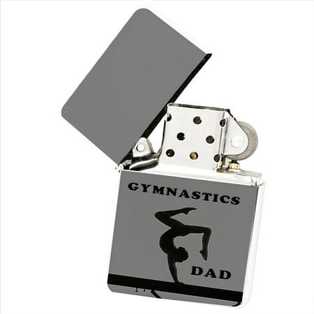 KuzmarK White Windproof Flip Top Lighter -  Gymnastics Dad