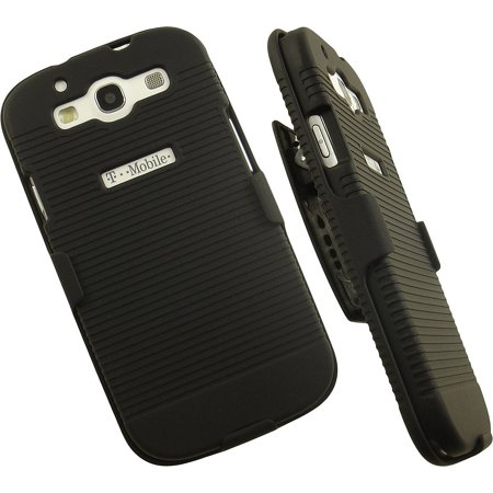 NAKEDCELLPHONE'S BLACK RUBBERIZED HARD CASE COVER + BELT CLIP HOLSTER STAND FOR SAMSUNG GALAXY S3 III (Escort Solo S3 Best Price)