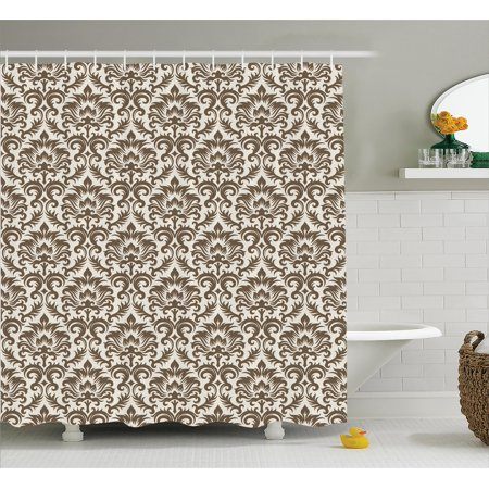 Damask Shower Curtain Set, Floral Damask Featuring Scrolled Motifs ...