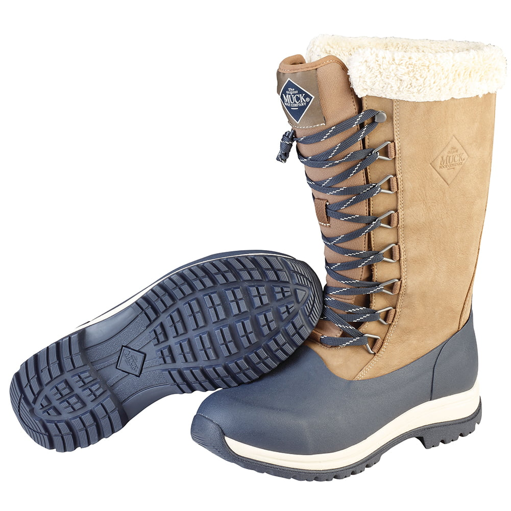 Muck Boot Women's Apres Lace 13'' Tall Snow Boots Grey Leather Neoprene Rubber Fleece 7 M