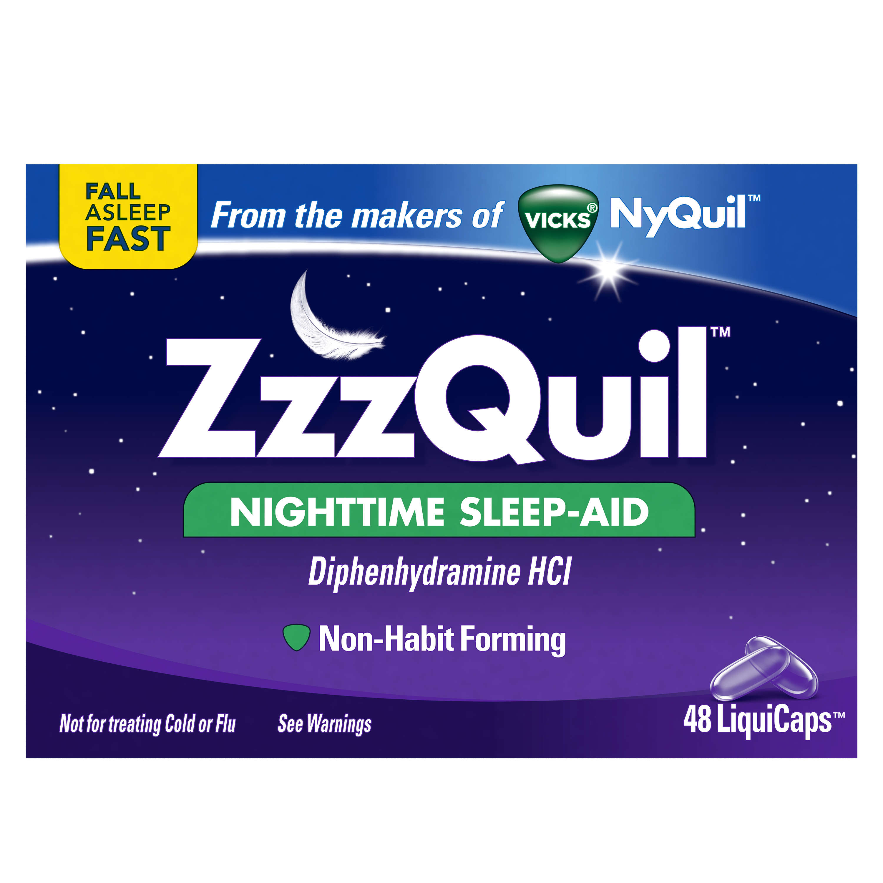 ZzzQuil Nighttime Sleep Aid LiquiCaps, 48 ct (Pack of 48)