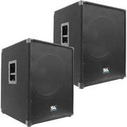 "Seismic Audio Pair of  18"" PA POWERED SUBWOOFER Active Speakers 800 Watts Each - Aftershock-18Pair"