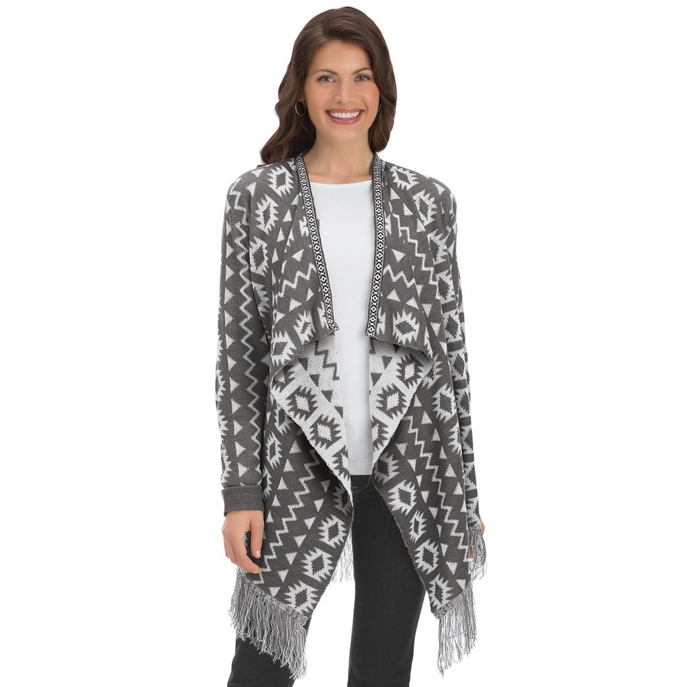Aztec Print Cascade Long Sweater Cardigan Misses Multi X-large, X ...