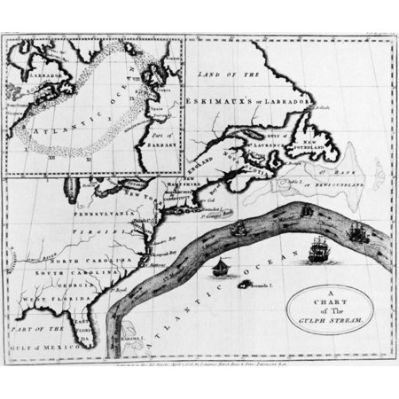 Stretched Canvas Art - Gulf Stream Chart. /Nan Early 19Th Century ...