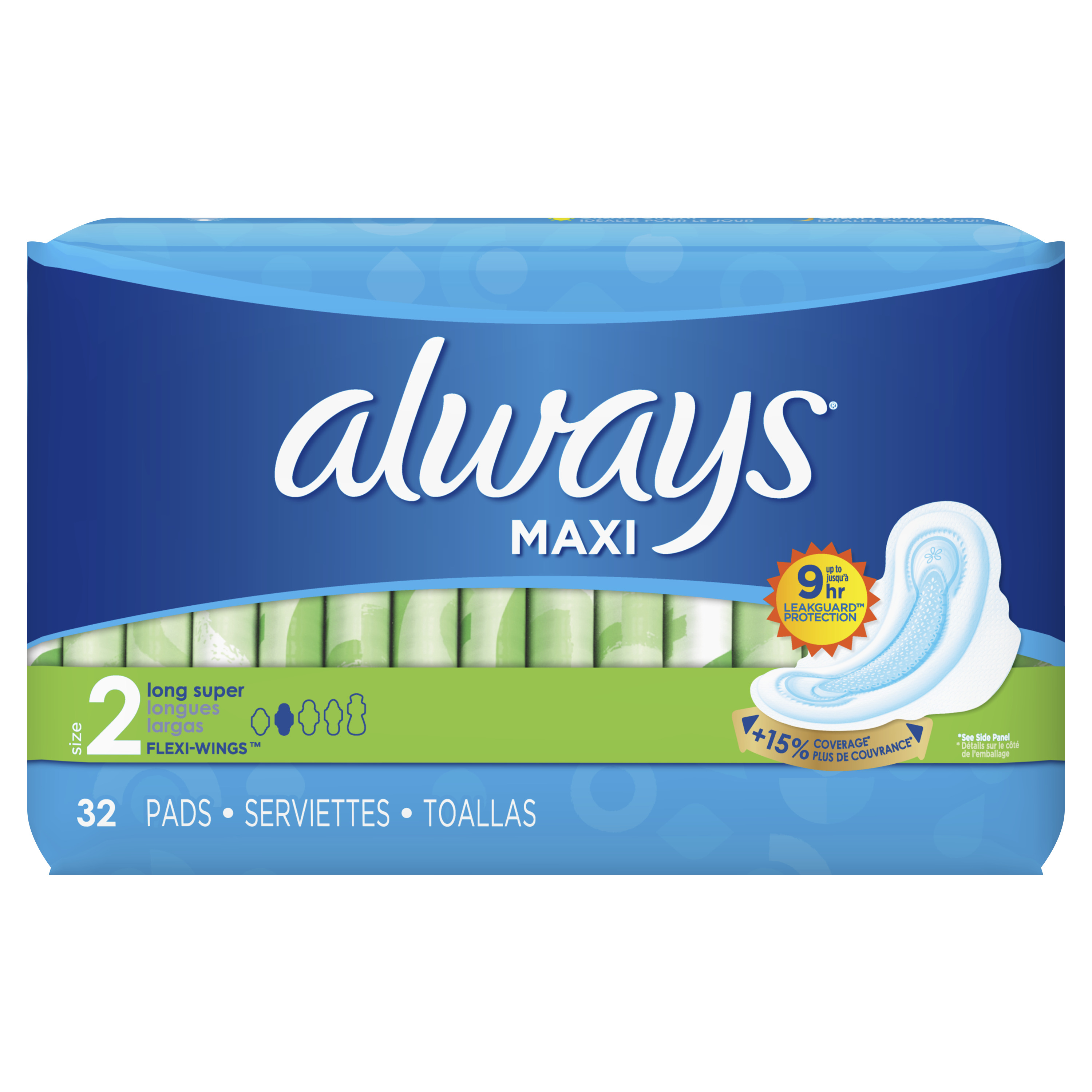 ALWAYS Maxi Size 2 Super Pads With Wings Unscented, 32 Count