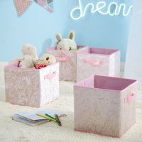 Urban Shop Crushed Velvet 4 pack Collapsible Storage Cubes, Blush