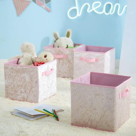 Urban Shop Crushed Velvet 4 pack Collapsible Storage Cubes, Blush