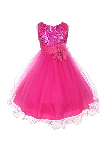 Sequined Bodice with Double Tulle Skirt Flower Girl Dress