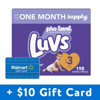 [Save $10] Buy 2 Luvs Triple Leakguards Diapers, Size 3, 396 Total Diapers, with Free $10 Gift Card