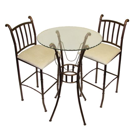Home Source 3 Piece Counter Height Italian Bistro Set with Glass Top Table and 2 Matching Side Chairs