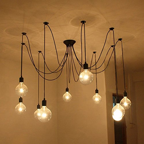 Vintage Industrial Hanging Chandelier Lighting Edison Light Bulb Lamp E27 Spider Ceiling Pendant Bulbs 10 Heads for Dining Room Coffee Shop Theme Restaurant Hall (light bulb is not included)