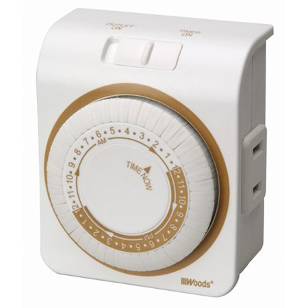 Woods 2 Conductor Indoor Mechanical 24 Hour Lamp Timer White 50000