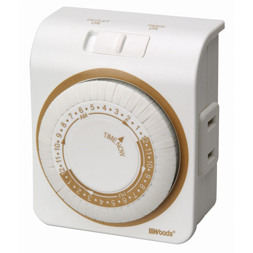 Woods 2-Conductor Indoor Mechanical 24-Hour Lamp Timer, White, 50000