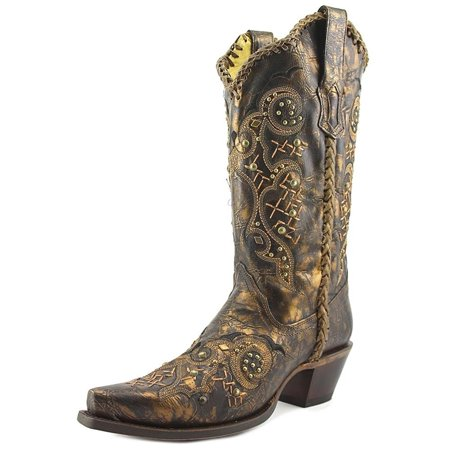Leather Cowgirl Boots (CORRAL Women's Leather Laced and Studded Cowgirl Boot Snip Toe Bronze 7 M US)
