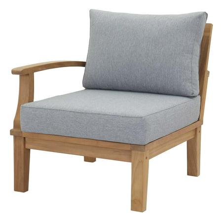 Modern Contemporary Urban Design Outdoor Patio Balcony Garden Furniture Sofa End Chair, Wood, Grey Gray Natural ()