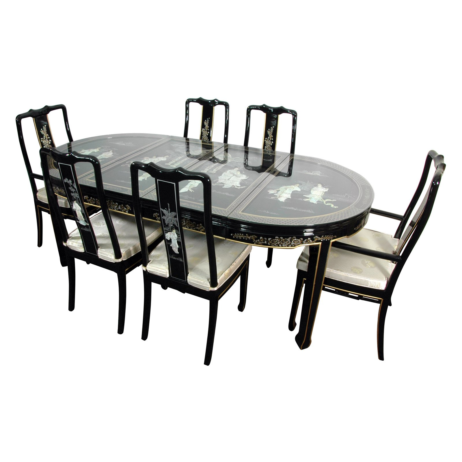 Oriental Furniture Lacquer Dining Room Set, Black Mother of Pearl