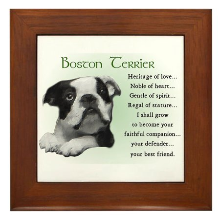 CafePress - Boston Terrier Gifts - Framed Tile, Decorative Wall Hanging
