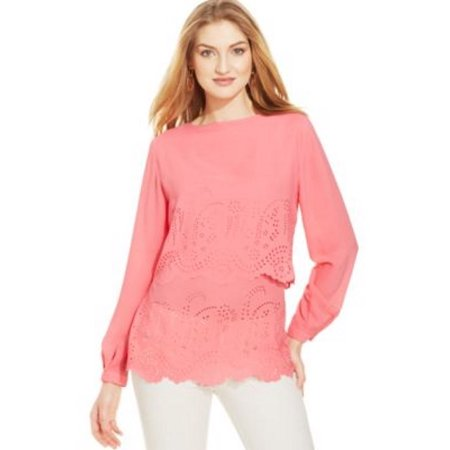 Camelia Rose (Ny Collection Laser-Cut Long Sleeve Layered Blouse, Camelia Rose,)